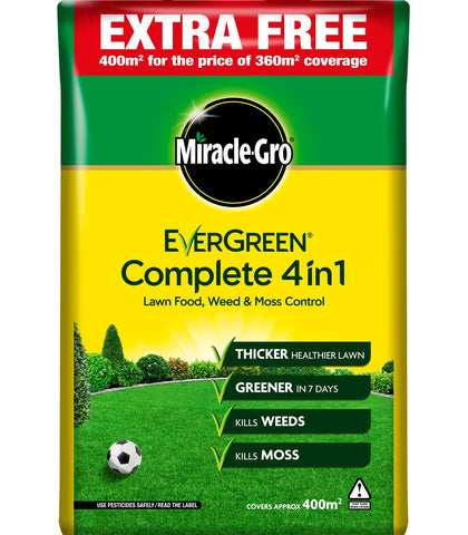 Miracle Gro - Evergreen Complete 4-in-1 360m2 + 10% EXTRA FREE Lawn Treatment | Snape & Sons