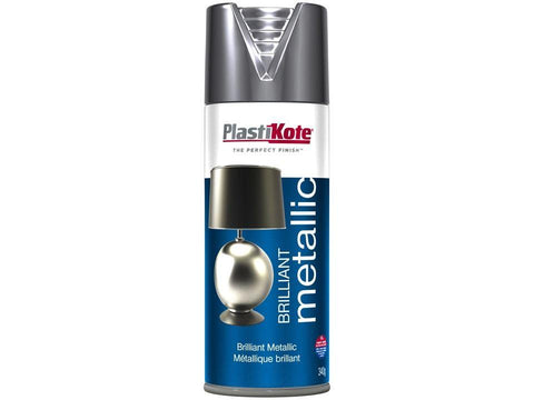 Plastikote - Brilliant Metallic Silver 400ml Spray Paints | Snape & Sons