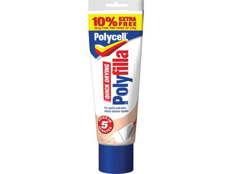 Polycell - Quick Dry Polyfilla Tube 330g + 10% EXTRA FREE General Purpose Fillers | Snape & Sons