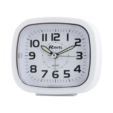Ravel Clocks - Sweeping Alarm Clock White Small Analogue Alarm Clock | Snape & Sons