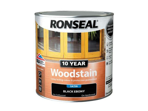 Ronseal - 10 Year Satin Woodstain Black Ebony 250ml Exterior Wood Stains | Snape & Sons