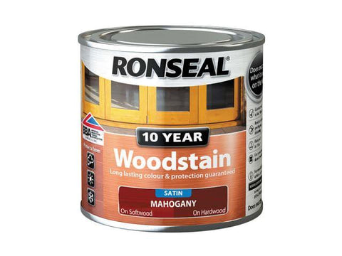Ronseal - 10 Year Satin Woodstain Mahogany 750ml Exterior Wood Stains | Snape & Sons