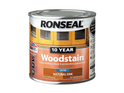 Ronseal - 10 Year Satin Woodstain Natural Oak 250ml Exterior Wood Stains | Snape & Sons
