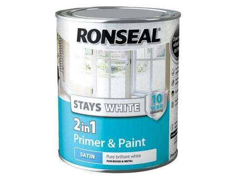 Ronseal - Stays White 2-in-1 Primer & Paint Satin 750ml Interior Wood & Metal Paints | Snape & Sons