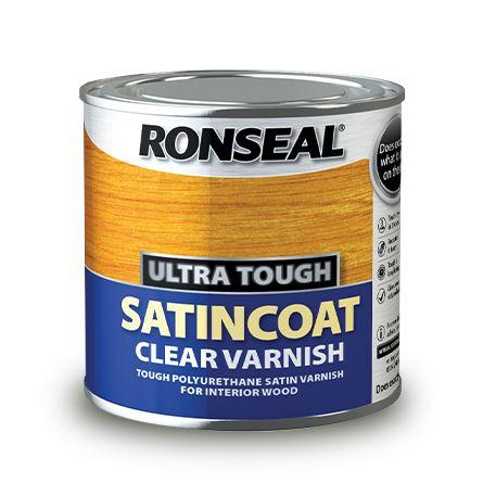 Ronseal - Ultra Tough Hardglaze Satincoat Varnish 250ml Varnishes | Snape & Sons