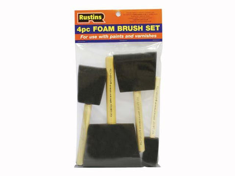 Rustins - Foam Brushes 4pc Set Paint Brushes | Snape & Sons