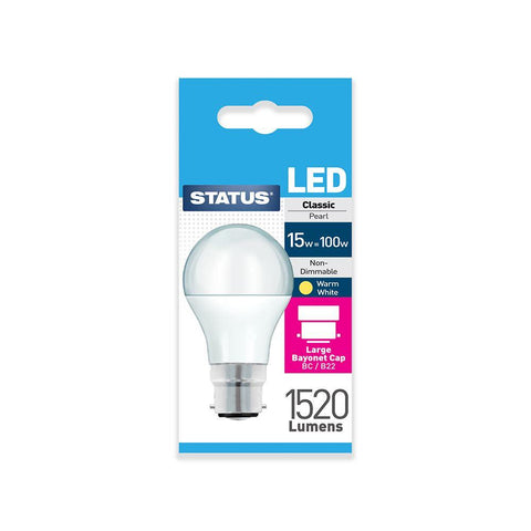 Status - 15W LED GLS Pearl B22/BC GLS Bulbs | Snape & Sons
