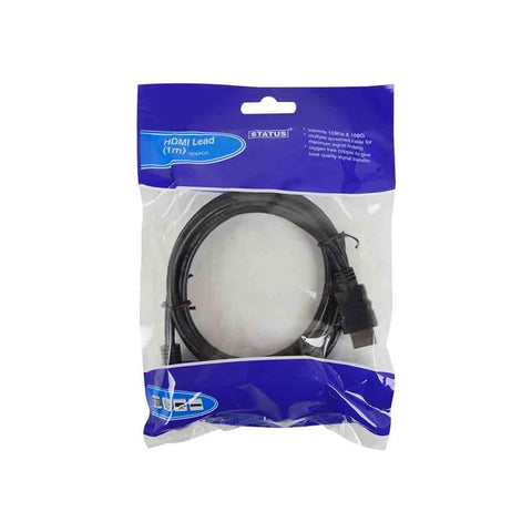 Status - 1m HDMI Cable Black Audio Visual Cables | Snape & Sons