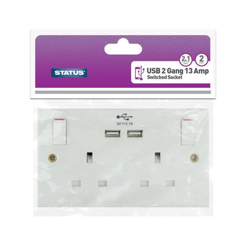 Status - 2 Gang Switch Socket + USB Switched Socket Plates | Snape & Sons