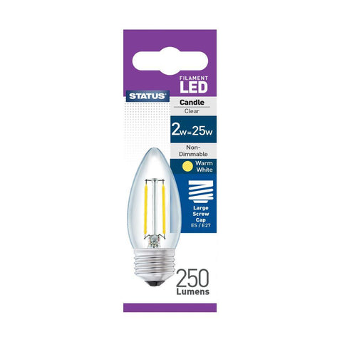 Status - 2W LED Clear Candle E27/ES Candle Bulbs | Snape & Sons