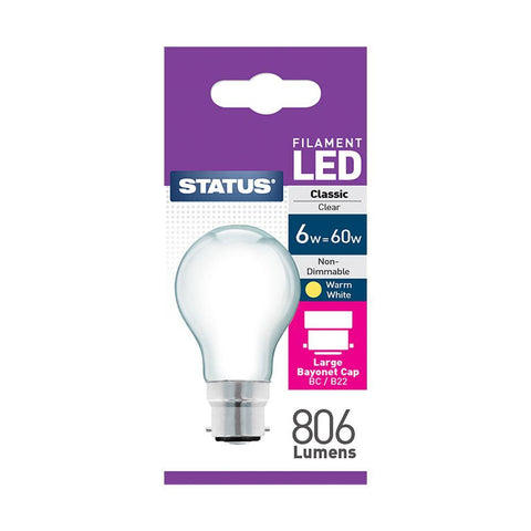 Status - 6W Filament LED GLS Pearl B22/BC 806lm GLS Bulbs | Snape & Sons