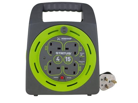 Status - Cable Reel 4 Socket 13amp 15m Thermal Cut Out Extension Reels | Snape & Sons