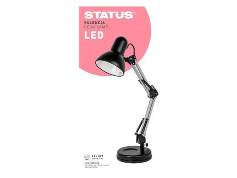 Status - Valencia Black Desk Lamp Desk Lamps | Snape & Sons