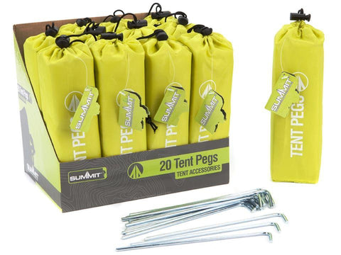 Summit - Metal Tent Pegs 18cm x20 Ground Anchors | Snape & Sons
