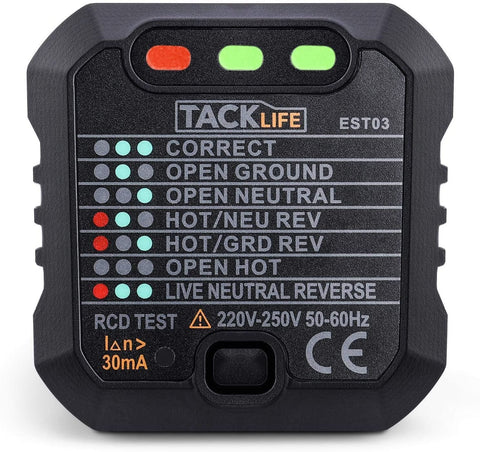 TackLife - Advanced Plug In Socket Tester Electrical Testers | Snape & Sons