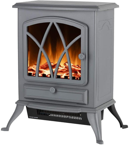 Warmlite - Sterling Grey Electric Stove Heater Electric Stoves | Snape & Sons