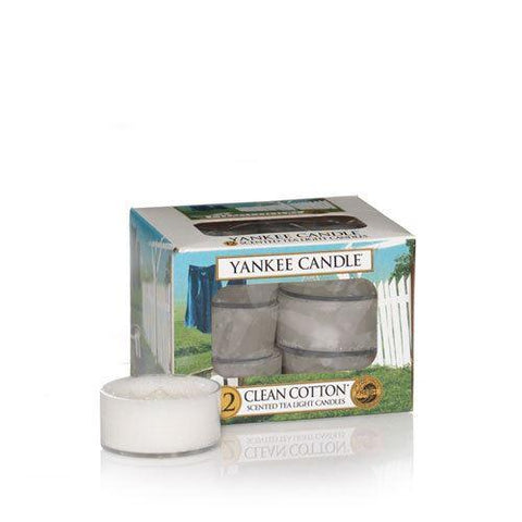 Yankee Candle - Clean Cotton Tealights x12 Tea Light Candles | Snape & Sons