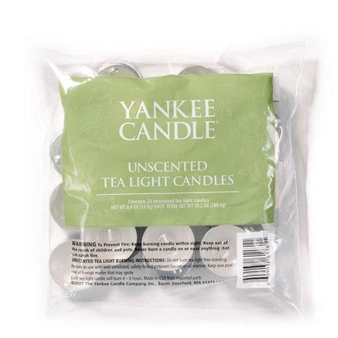 Yankee Candle - Unscented Tealights x25 Tea Light Candles | Snape & Sons