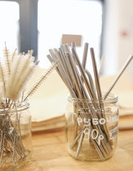 A collection of metal straws