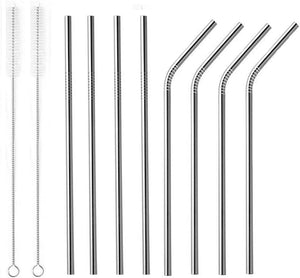 Silver Bosh. Reusable Metallic Drinking Straw - Pack of 8 - Bosh Bottles UK - Reusable Drinks Bottle - Gym Bottle - Hot and Cold Flask