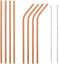 Load image into Gallery viewer, Rose Gold Bosh. Reusable Metallic Drinking Straw - Pack of 8 - Bosh Bottles UK - Reusable Drinks Bottle - Gym Bottle - Hot and Cold Flask
