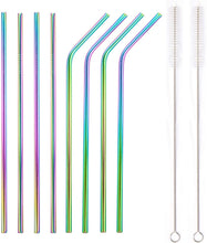 Load image into Gallery viewer, Rainbow Bosh. Reusable Metallic Drinking Straw - Pack of 8 - Bosh Bottles UK - Reusable Drinks Bottle - Gym Bottle - Hot and Cold Flask
