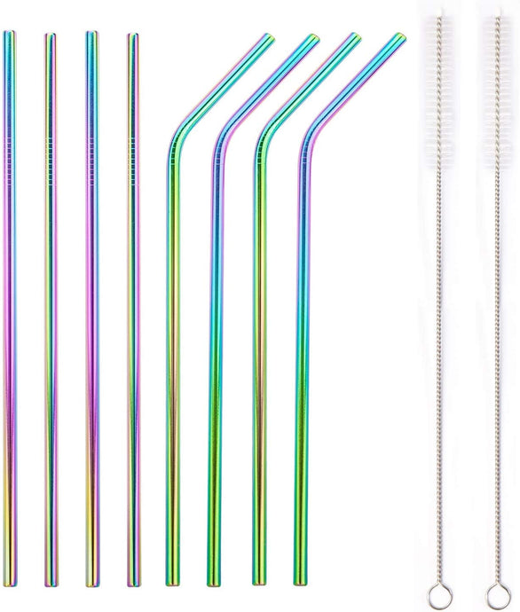 Rainbow Bosh. Reusable Metallic Drinking Straw - Pack of 8 - Bosh Bottles UK - Reusable Drinks Bottle - Gym Bottle - Hot and Cold Flask