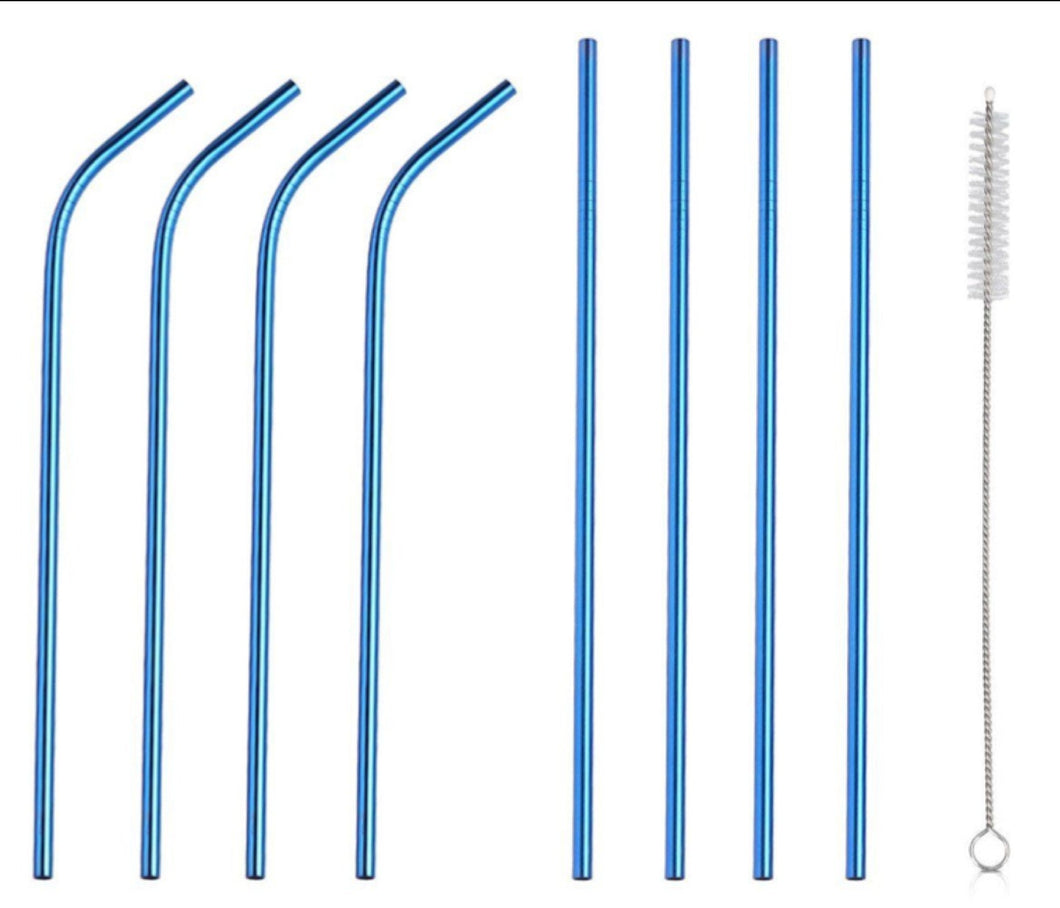Blue Bosh. Reusable Metallic Drinking Straw - Pack of 8 - Bosh Bottles UK - Reusable Drinks Bottle - Gym Bottle - Hot and Cold Flask
