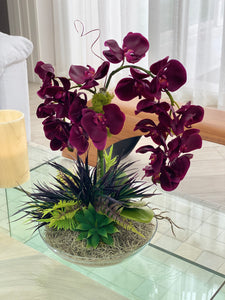 Decograss Real Touch wine synthetic Phalaenopsis Orchid