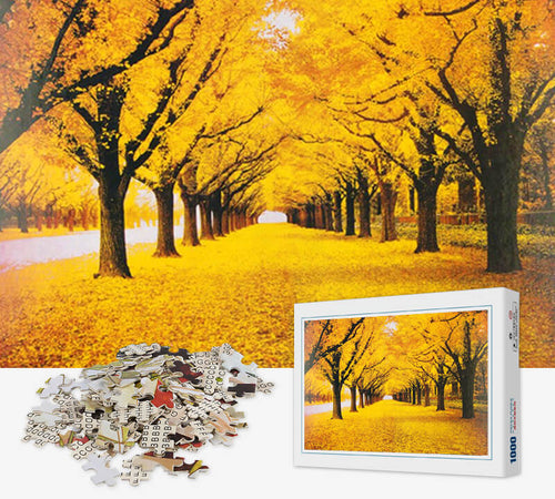 1000 Piece Jigsaw Puzzle - Autumn Oak Trees - PuzzleMode.com
