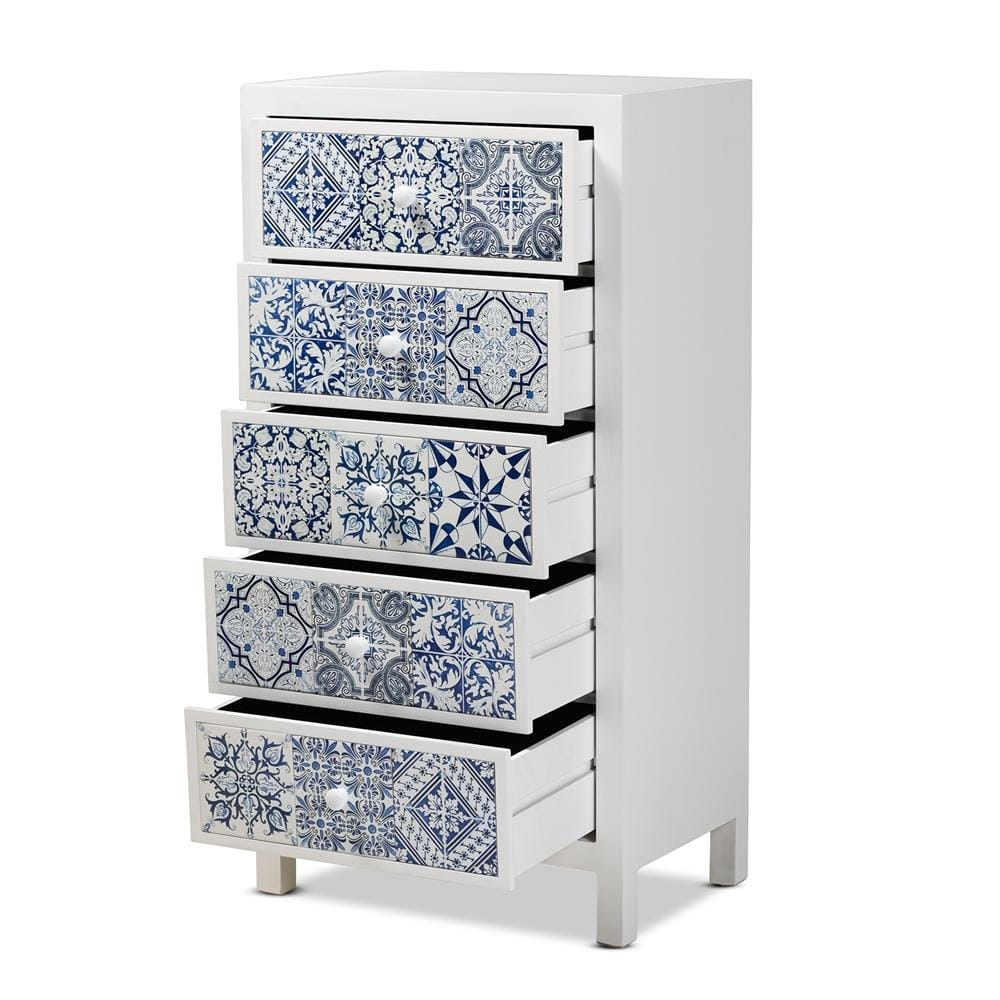 Alma Mediterranean Five-Drawer Accent Chest - Modn City