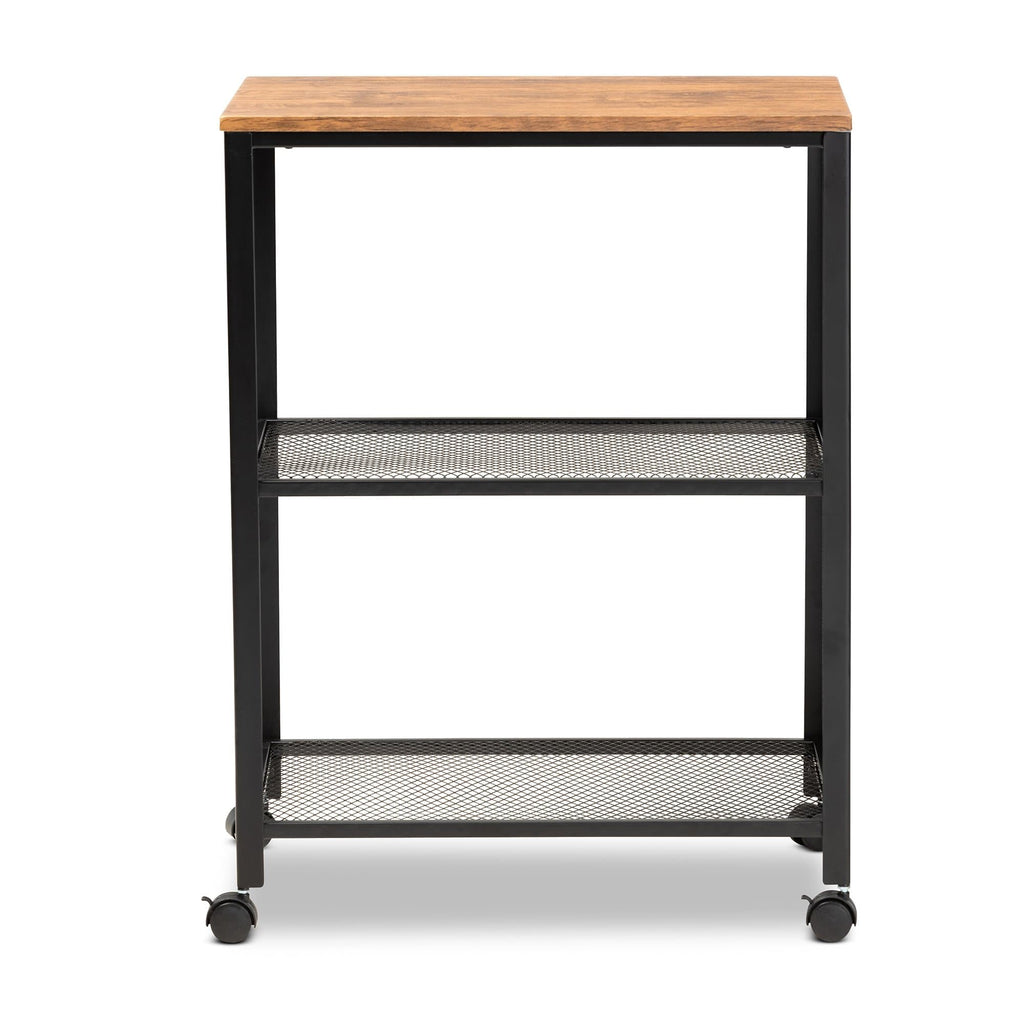 Baxton Studio Verna Vintage Rustic Industrial Black Finished Metal and Oak Brown Finished Wood Kitchen Serving Cart - Modn City