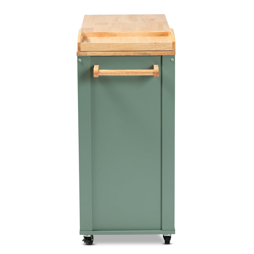 Dorthy Farmhouse Two-tone Kitchen Cart-Dark Green and Natural Wood - Modn City