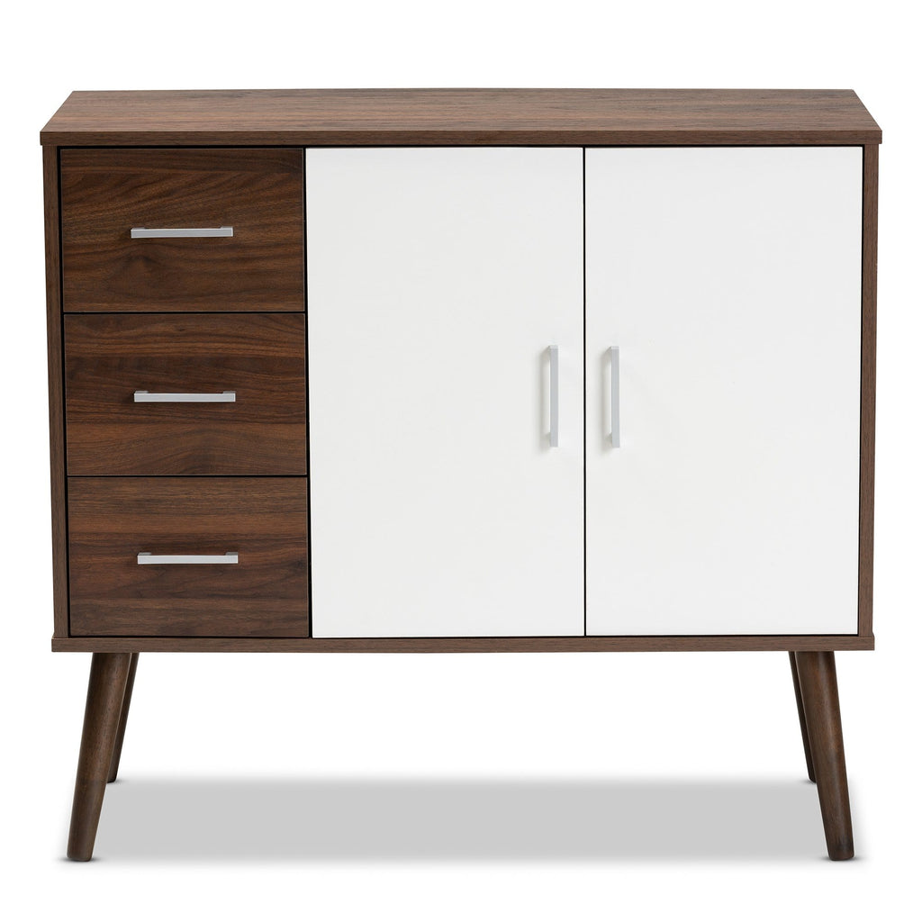 Leena Mid-Century Modern Two-Tone 3-Drawer Sideboard-White and Walnut - Modn City