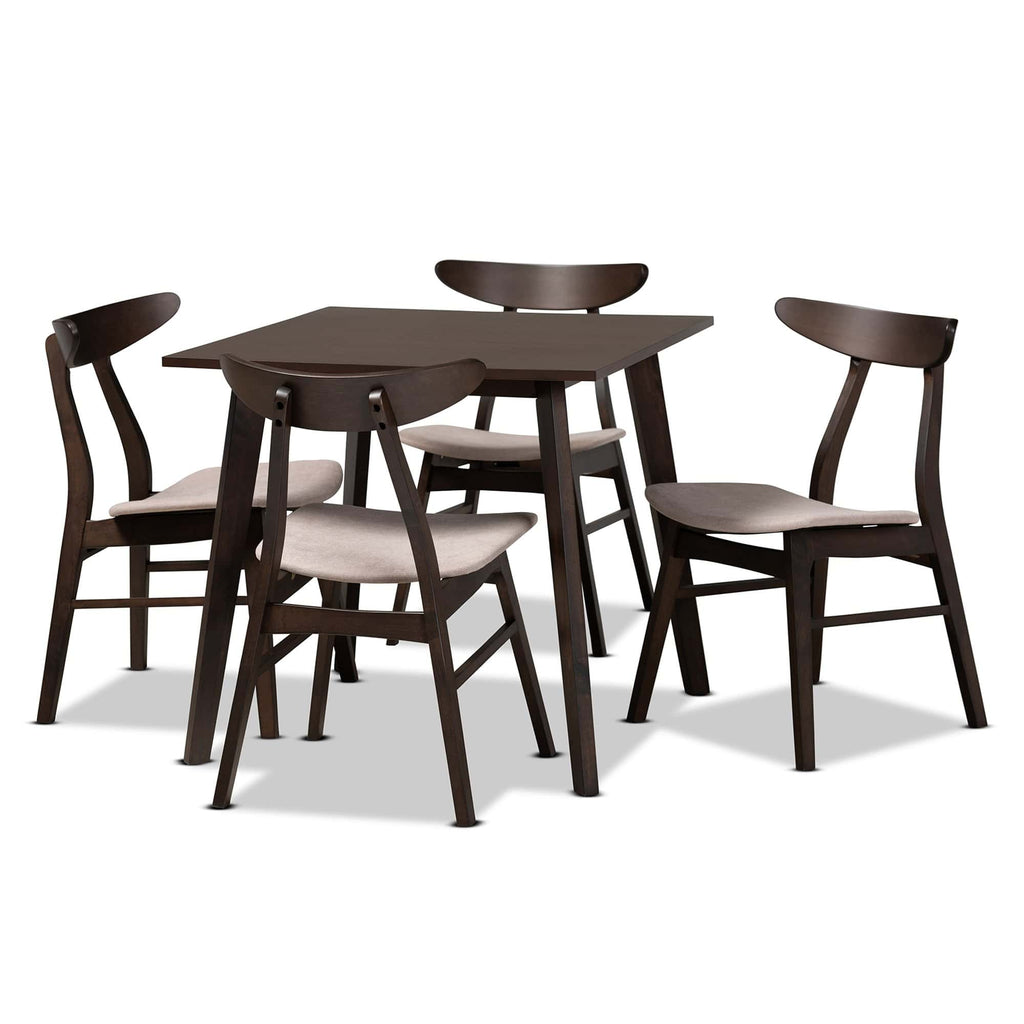 Britte Mid-Century Modern 5-Piece Wood Dining Set - Modn City