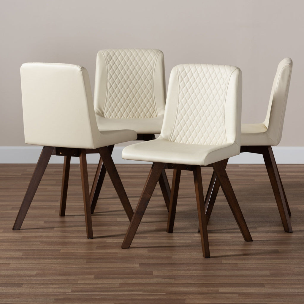 Pernille Cream Faux Leather 4-Piece Wood Dining Chair Set - Modn City