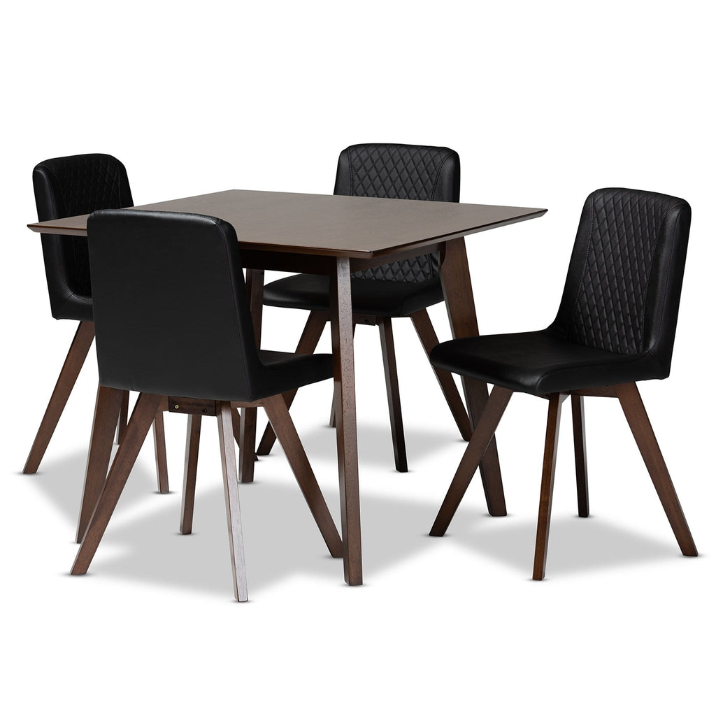 Pernille Modern Black Faux Leather 5-Piece Dining Set - Modn City
