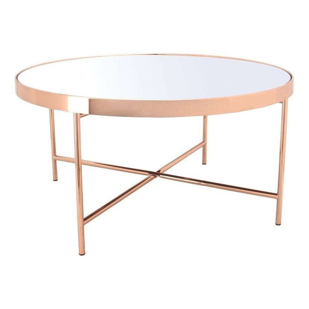 Xander - Copper Coffee Table with Mirror Top - Big - Modn City