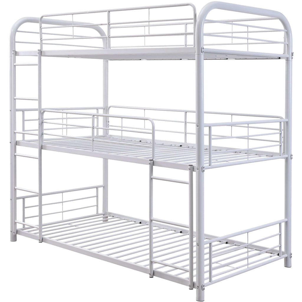 White Metal Triple Bunk Bed - Twin - Modn City