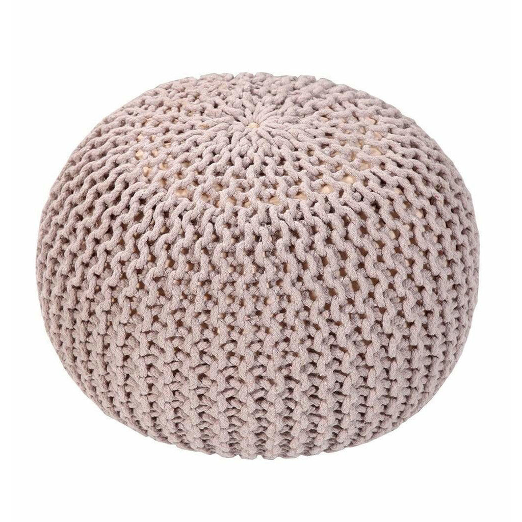 Handmade Round Knitted Pouf | Silver Gray | 50x35cm - Modn City