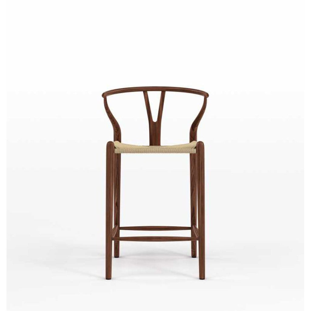 Wishbone CH24 Y Chair Counter Stool - Walnut & Natural Cord - Reproduction - Modn City