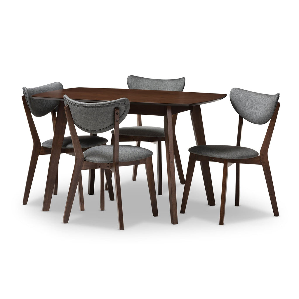 Hadrea Mid-century Modern 5-Piece Dining Set-Walnut Finish and Dark Grey - Modn City