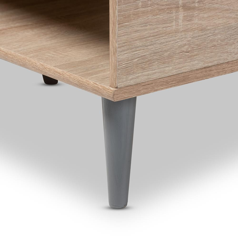 Pierre Mid-Century Coffee Table-Oak and Light Grey Finish - Modn City