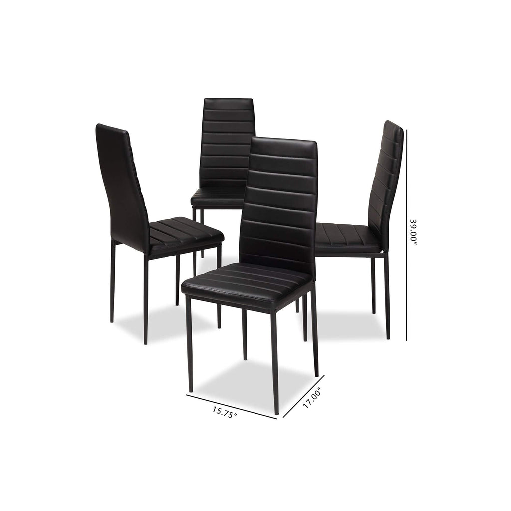 Armand Black Faux Leather Dining Chair (Set of 4) - Modn City