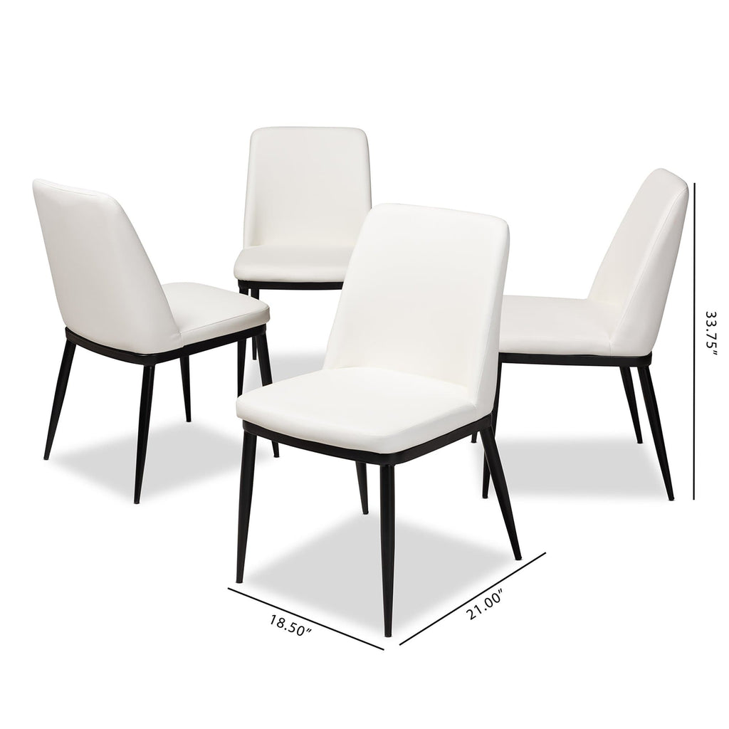 Darcell Contemporary White Faux Leather Dining Chair (Set of 4) - Modn City