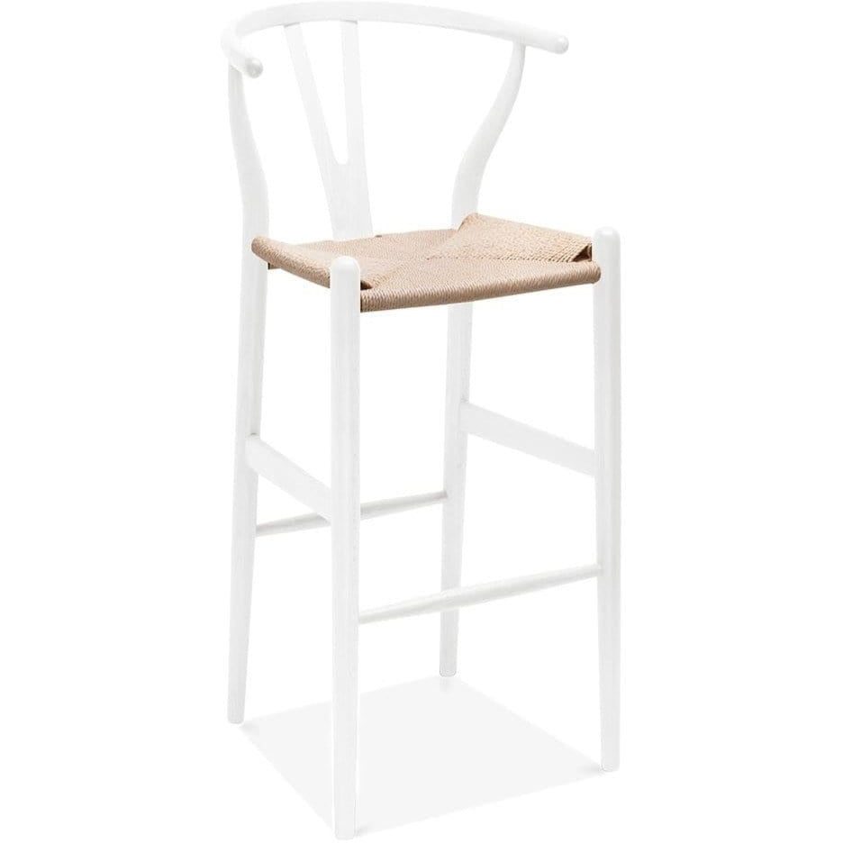 Wishbone CH24 Y Chair Bar Stool - White & Natural Paper Cord - Reproduction - Modn City