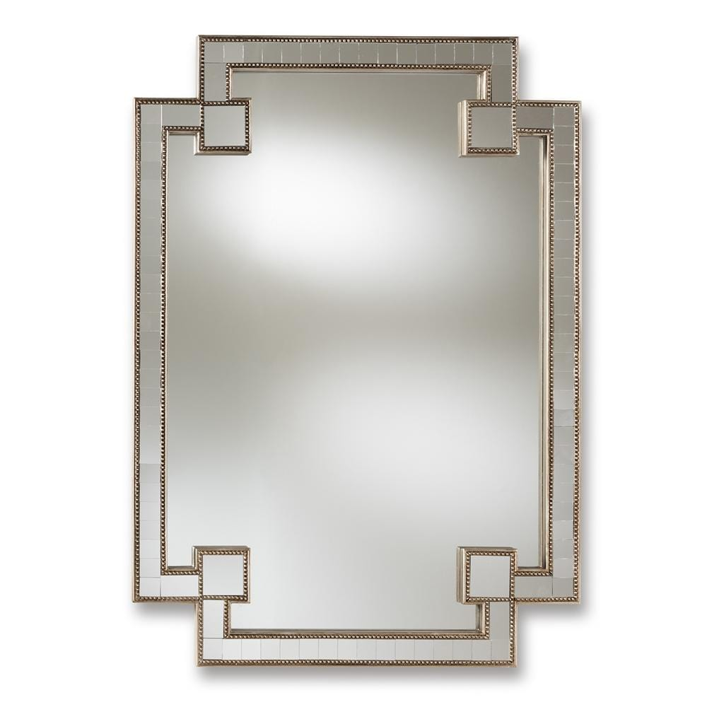Fiorella Antique Studded Accent Wall Mirror-Silver Finish - Modn City