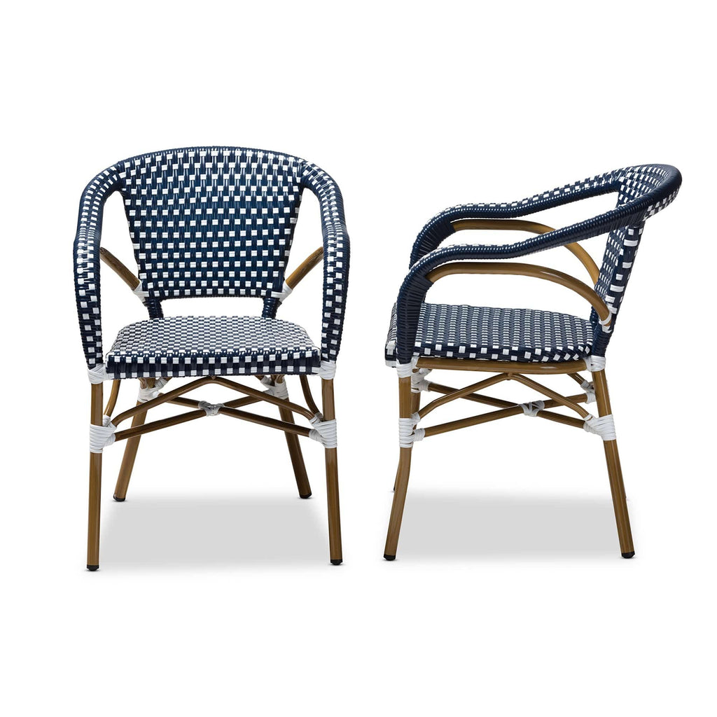 Eliane Classic French Dining Chair (Set of 2)-Navy and White - Modn City