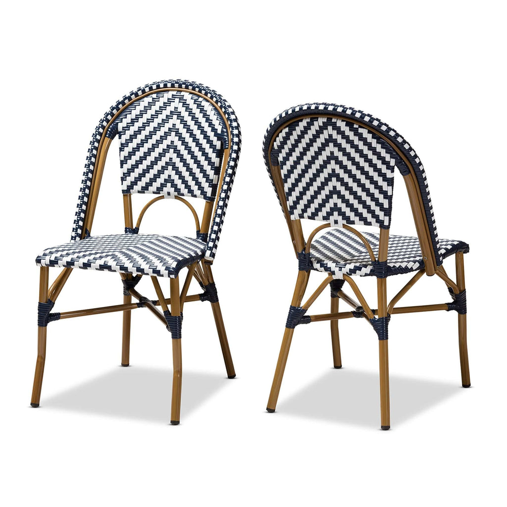 Celie Classic French Bistro Dining Chair (Set of 2) Blue and White - Modn City