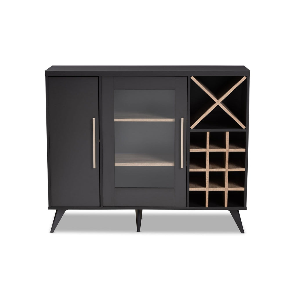 Pietro Mid-Century Wine Cabinet-Dark Grey and Oak - Modn City
